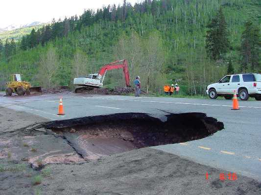 <p>Sinkhole caused by a collapsed culvert on I-70 near Vail.</p>