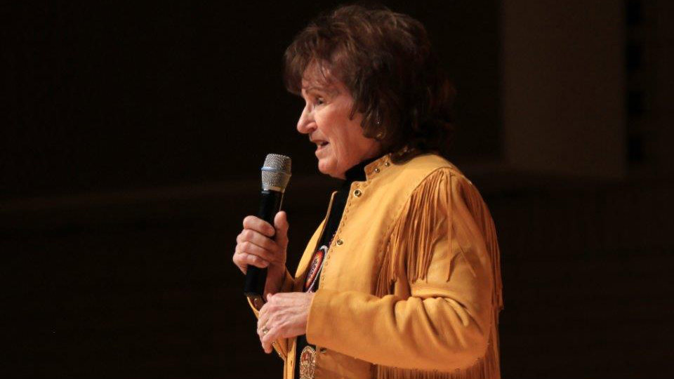 <p>Cowgirl poet Yvonne Hollenbeck of South Dakota recites a poem during the 2014 Colorado Cowboy Gathering in Golden.</p>