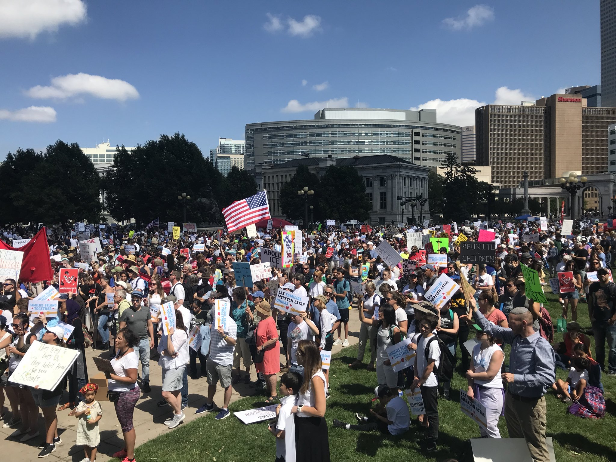 <p>Thousands of people pack Civic Center Park in Denver to protest the detention of immigrant families on Saturday, June 30, 2018.</p>