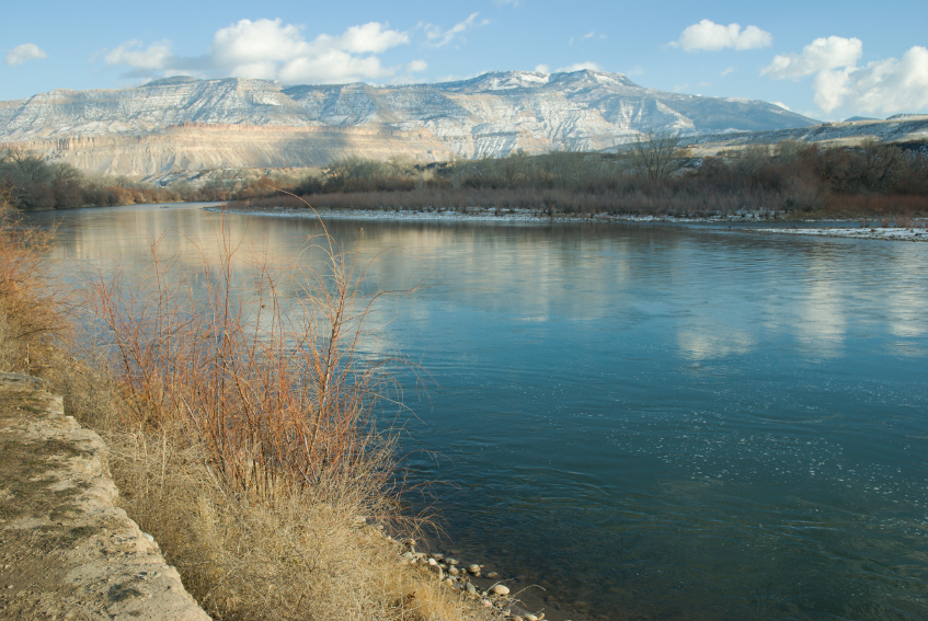 <p>The Colorado River with Grand Mesa in the background from Riverbend Park, Palisade, Colo.</p>