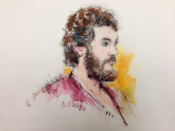 <p>Courtroom sketch of James Holmes</p>