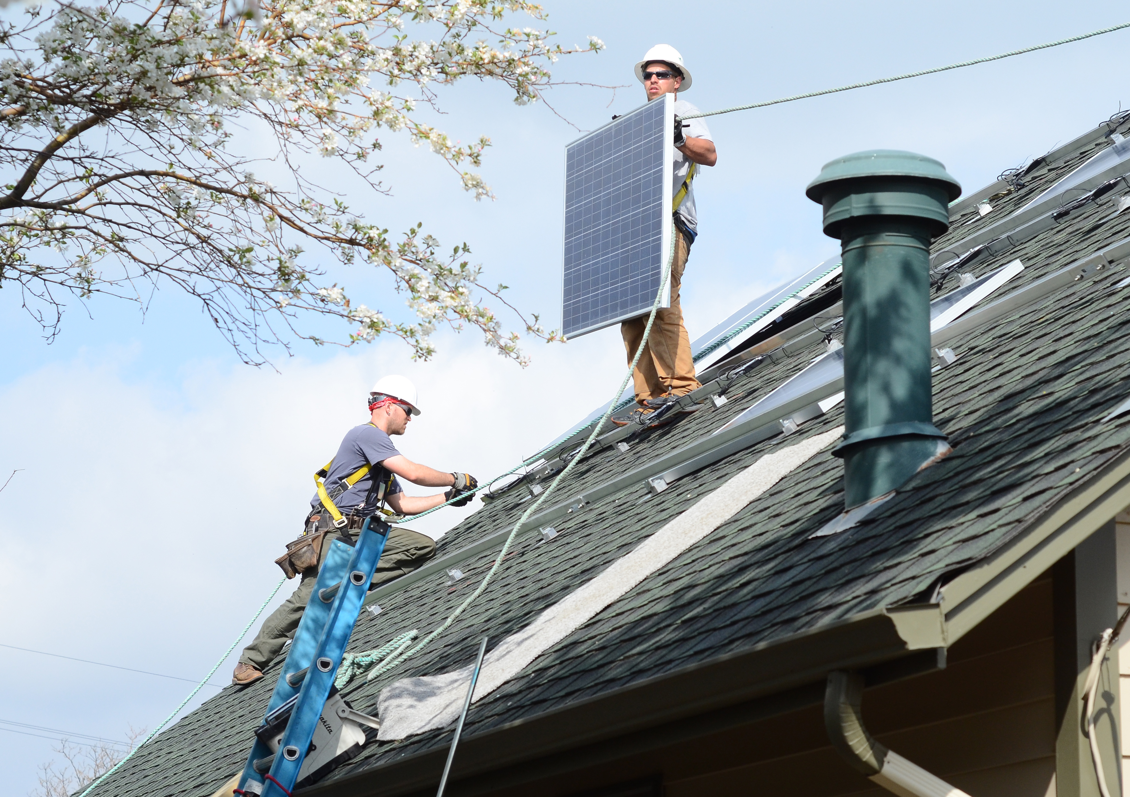 <p>Workers from Bella Energy installsome of the97 solar panels that areexpected to provide Mackintosh Academy with 70 percent of its energy needs.</p>