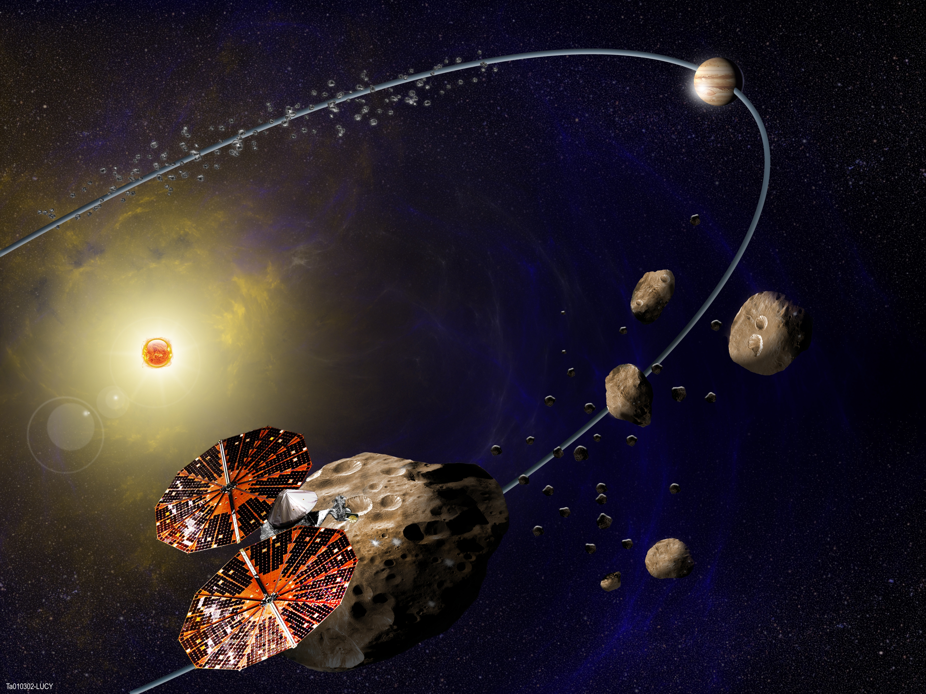 <p>In this artist's concept (not to scale), the Lucy spacecraft is flying by Eurybates, one of the six Trojans asteroids that it will study.</p>