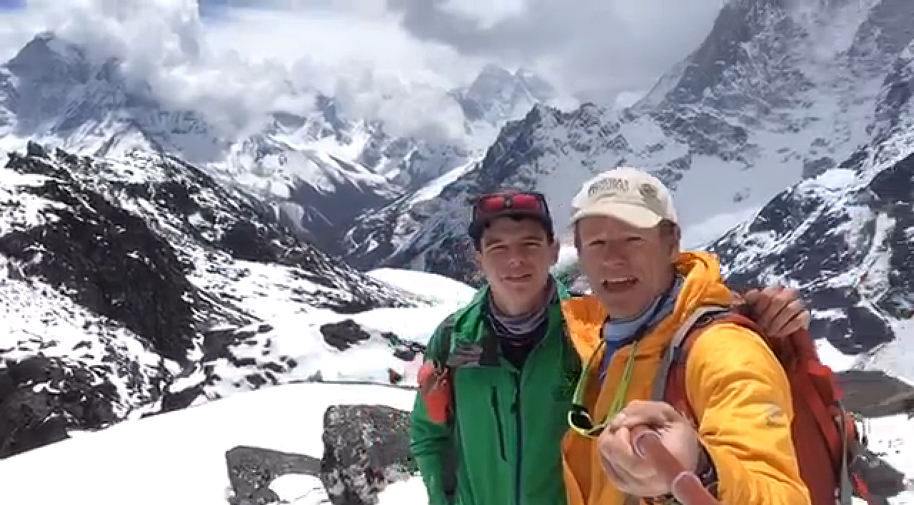 """<p>Boulder mountaineer MattMoniz, left, stands with his teammate Willie Benegasin a screenshot from <a href=""""https://www.facebook.com/climb7/videos/vb.539086576231497/548332271973594/?type=2&theater"""" target=""""_blank"""" rel=""""noopener noreferrer"""">a Facebook video</a> taken a day before an earthquake and avalanche hit Nepal and Mount Everest on Saturday, April 25, 2015.</p>"""