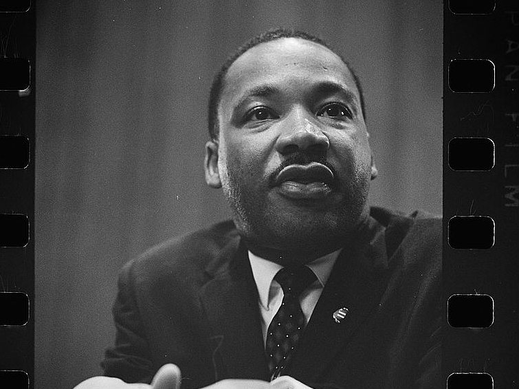 <p>A photo negative of civil rights leader Martin Luther King, Jr., at a 1964 press conference. King was assassinated 50 years ago, on April 4, 1968.</p>