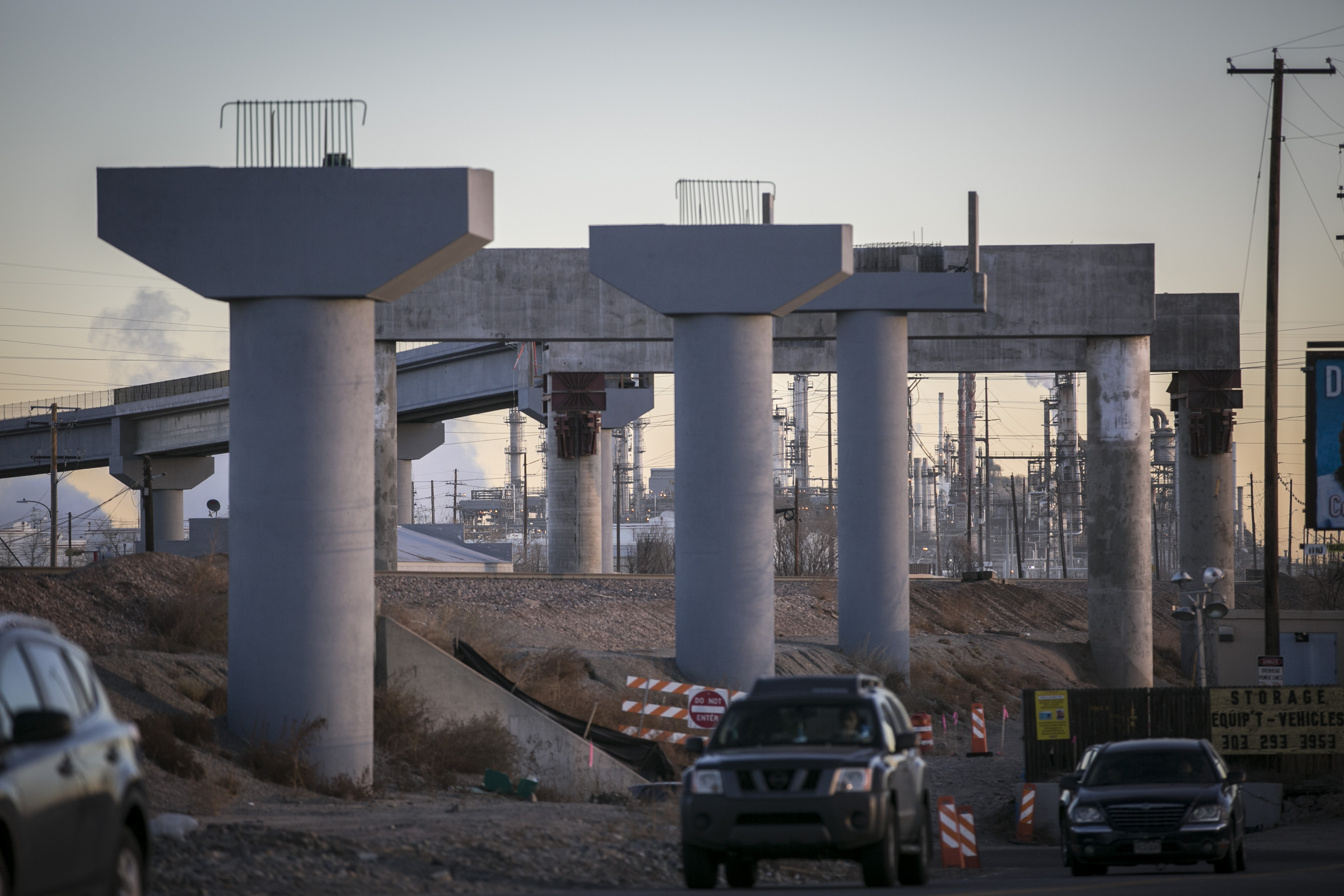 <p>The still-under-construction Skyway Bridge will carry RTD N Line commuter trains through the northern metro for just under two miles. It's seen here from Brighton Boulevard in north Denver on Wednesday, Dec. 6, 2017.</p>