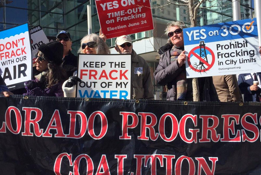 <p>About two dozen anti-frackingdemonstrators protested outside the Oil and Gas Task Force meeting onTuesday, Feb. 24, 2015.</p>