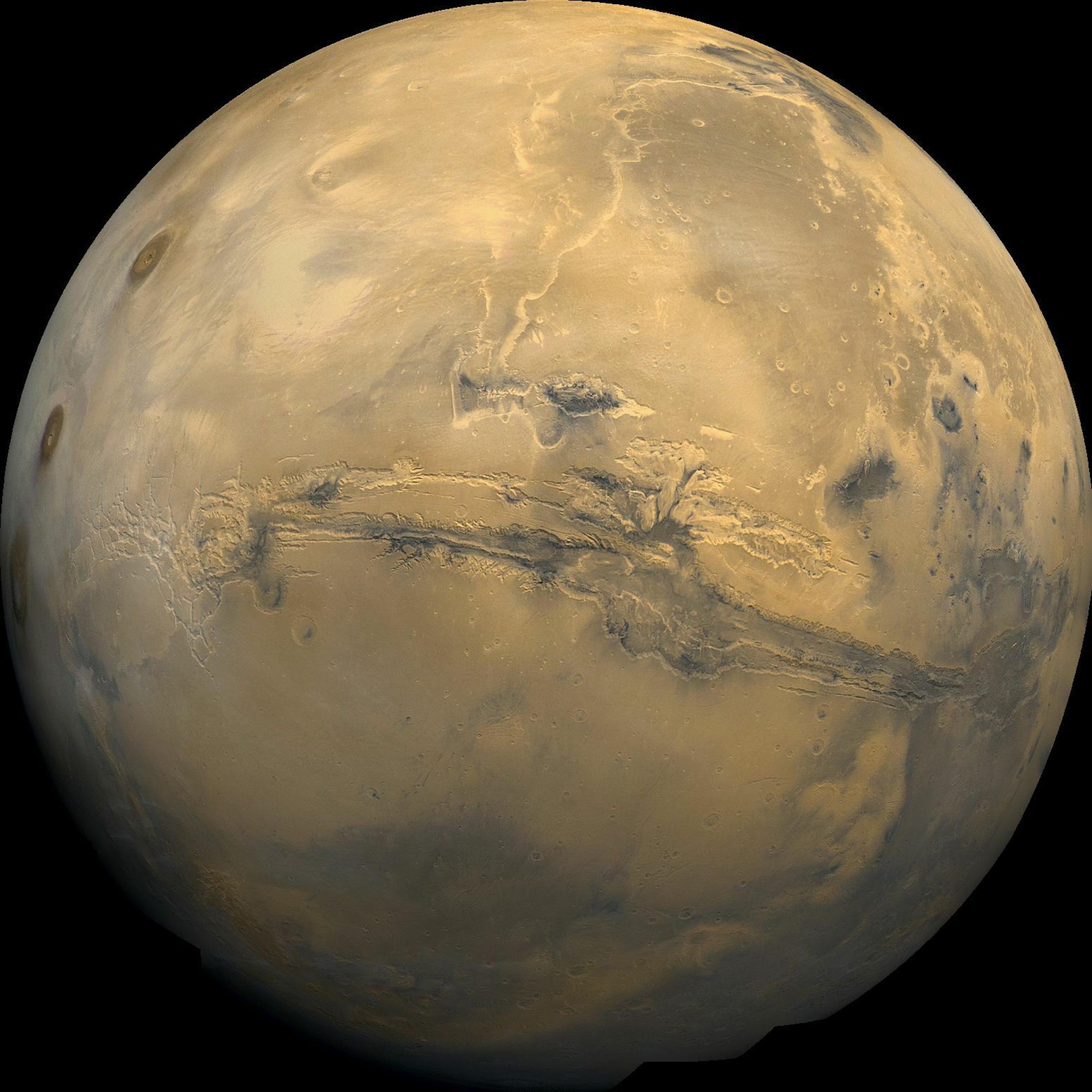 <p>An image of Mars showingthe massive canyon Valles Marineris.</p>