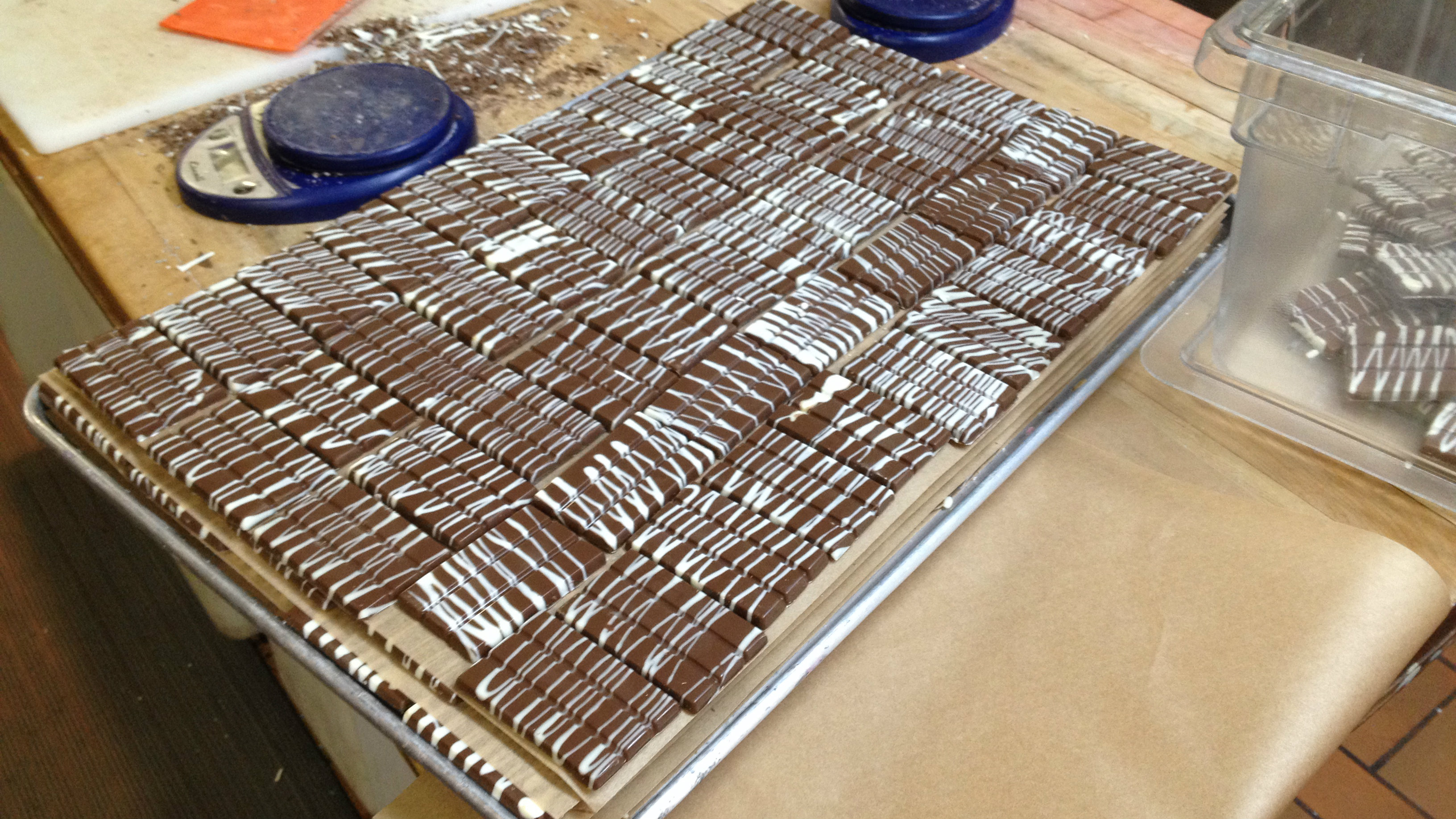 <p>Mile Higher chocolate bars made at Incredibles kitchen in Denver ready to be packaged. </p>