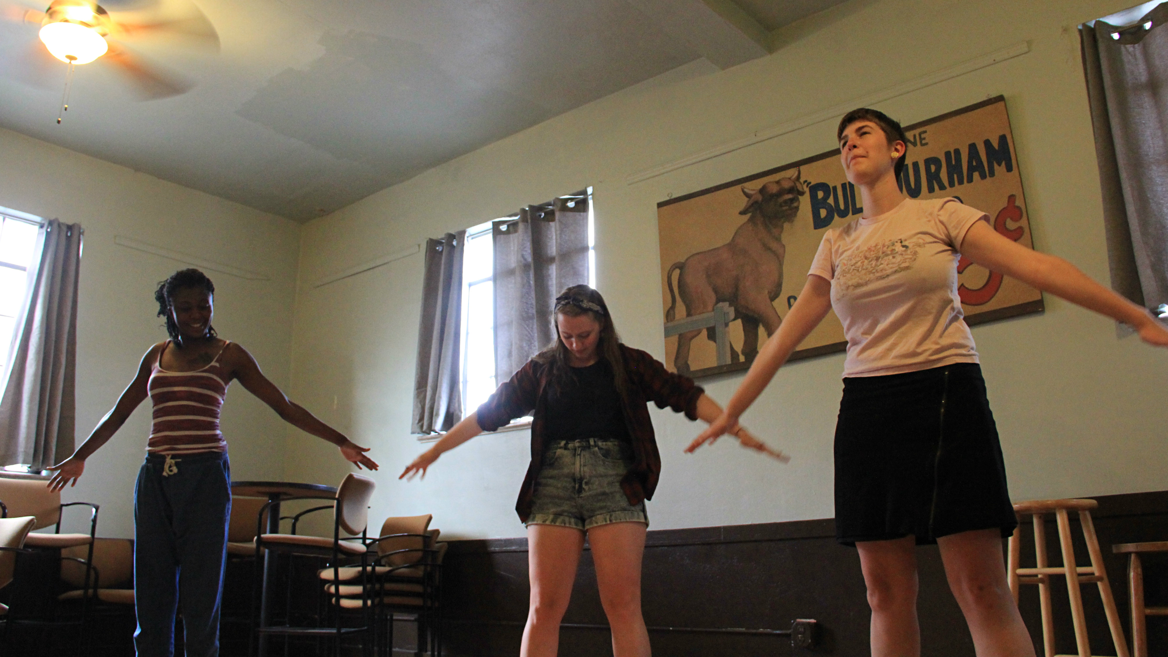 """<p>Young playwrightsCharmira Nelson ofPhiladelphia, left,Lilly Newell of Chicago and Frances Maples ofLafayette, California,practice physical exercises aimed at stimulating creativity atthe""""Curious New Voices National Collective""""summer playwritingworkshop in Denver.</p>"""