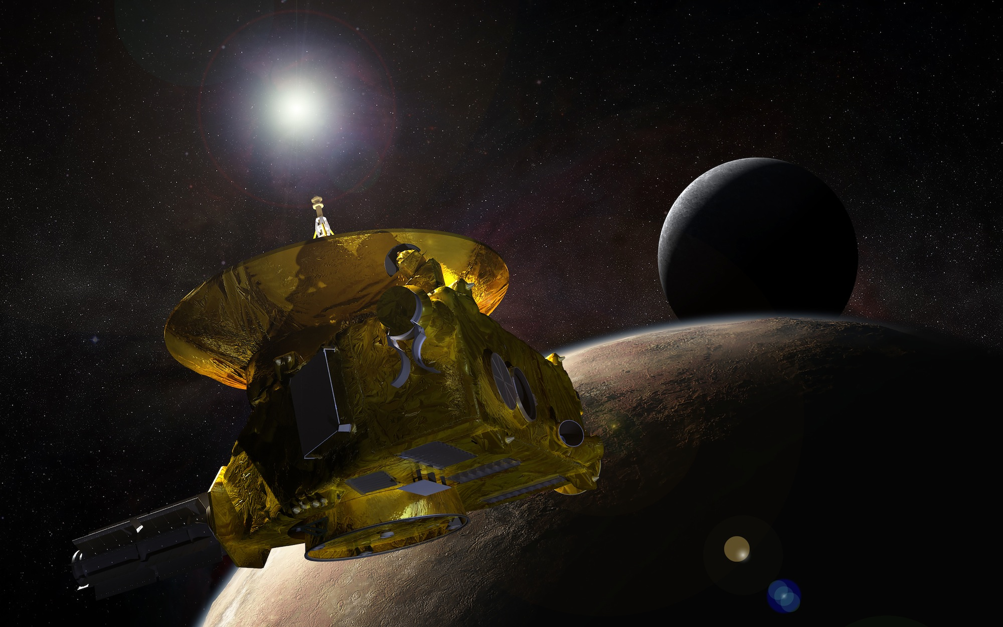 <p>Artist's concept of the New Horizons spacecraft encountering Pluto and its largest moon, Charon.</p>