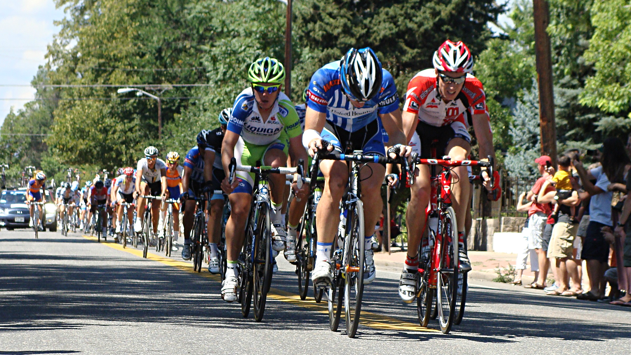 <p>Cyclists race through Denver, competing in the final stage in 2011, the first year of the event.</p>