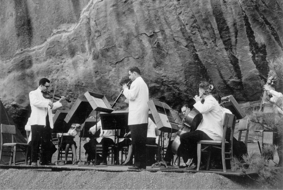 <p>The Denver Chamber Music Society performs at Red Rocks circa the 1940s.</p>