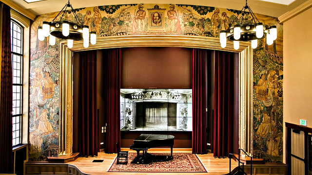 <p>After years of restoration, Thompson's mural in the Reiman Theater has been restored to near original condition.</p>