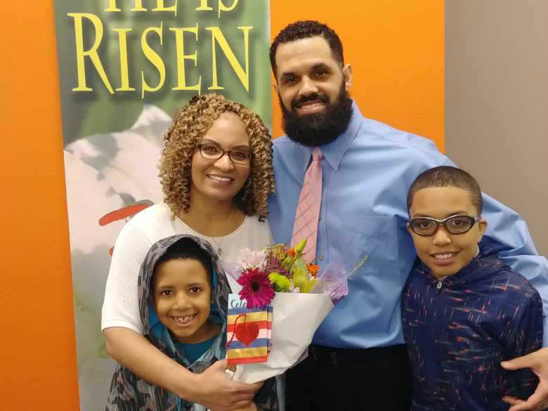 <p>Rene Lima-Marin, his wife Jasmine, and their sons.</p>