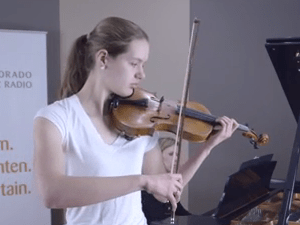 <p>Violinist Sarah Switzer of Denver Young Artists Orchestra</p>