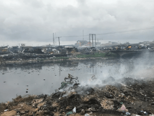 An electronics waste site in Accra, Ghana