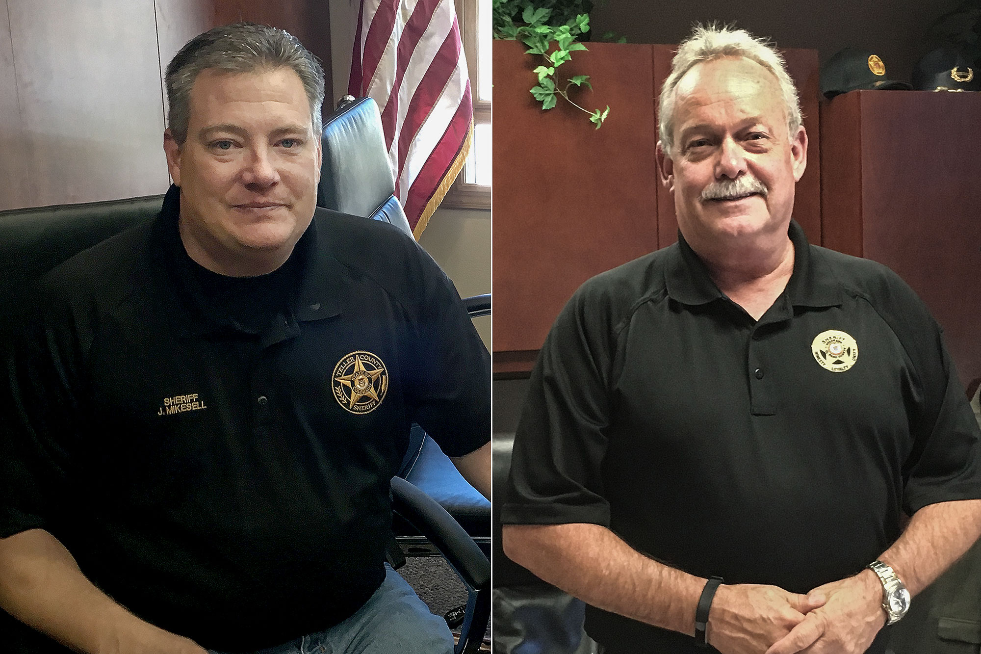 <p>Teller County Sheriff Jason Mikesell, left, and El Paso County Sheriff Bill Elder.</p>