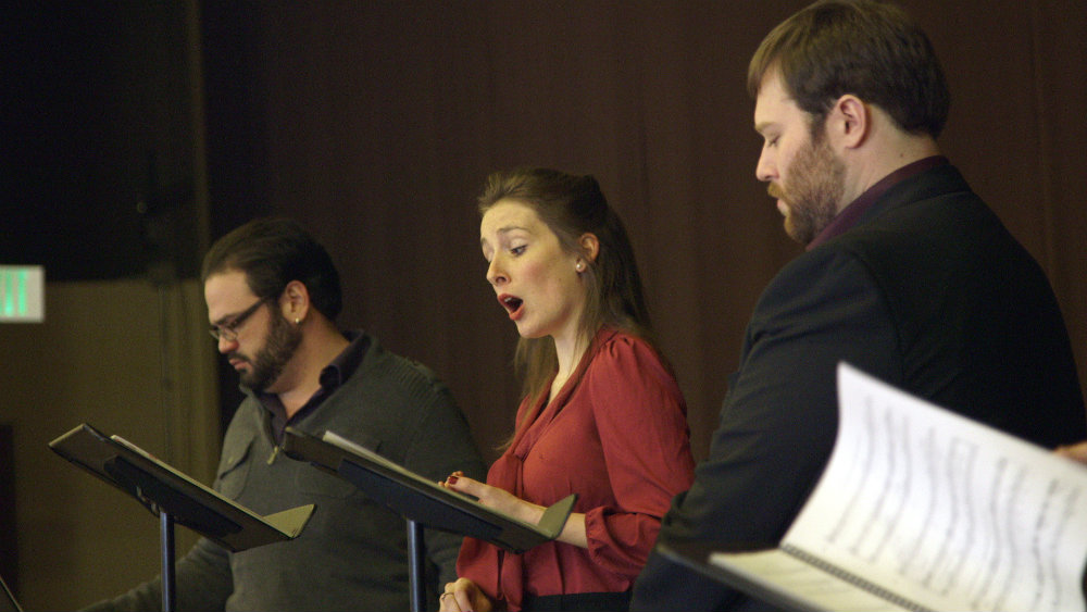 "<p>Daniel DeVicente, Leah Bobbey and Brett Sprague sing at a concert reading of Opera Colorado's upcoming production of ""The Scarlet Letter."" </p>"