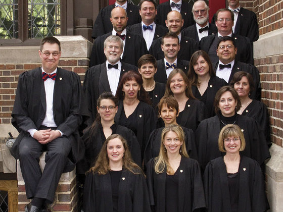 <p>Artistic director Timothy Krueger (left) and other members of St. Martin's Chamber Choir.</p>