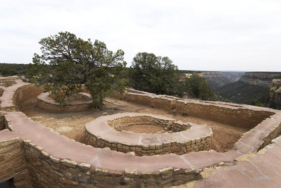 <p>The Sun Temple overlooks the Cliff Palace dwelling at Mesa Verde.</p>