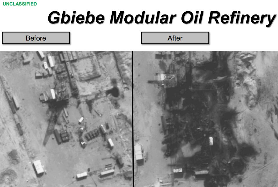 <p>These photos show damage to anoil refineryin Syria afterairstrikes by US and coalition forces.</p>
