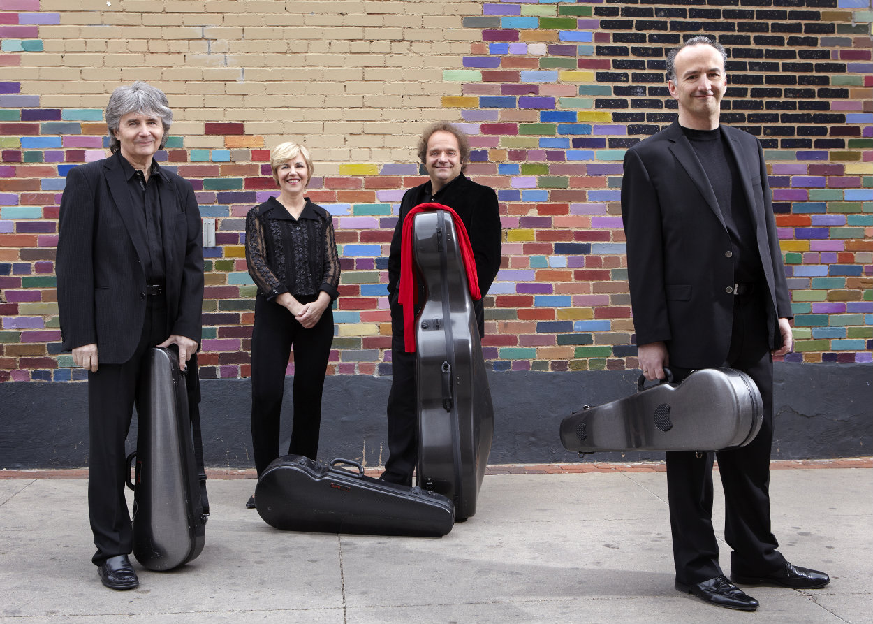 "<p>The Takacs Quartet. Left to right: Károly Schranz, second violin; Geraldine Walther, viola; András Fejer, cello; <span style=""line-height: 30.0000591278076px;"">Edward </span>Dusinberre<span style=""line-height: 30.0000591278076px;"">, first violin</span><span style=""line-height: 1.66667em;"">.</span></p>"