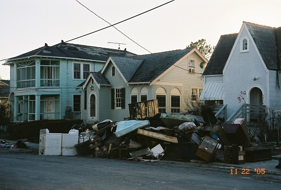 <p>Tracy Saunders of Lakewood moved to Colorado after evacuating New Orleans in the eye of Hurricane Katrina. Pictured are belongings outside her former home, which was destroyed by the storm.</p>