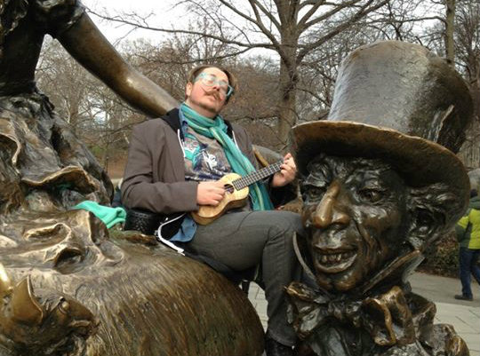 <p>Loki in Central Park, New York City, with custom Mya-Moe Ukulele (before it was stolen in Washington, D.C.). </p>