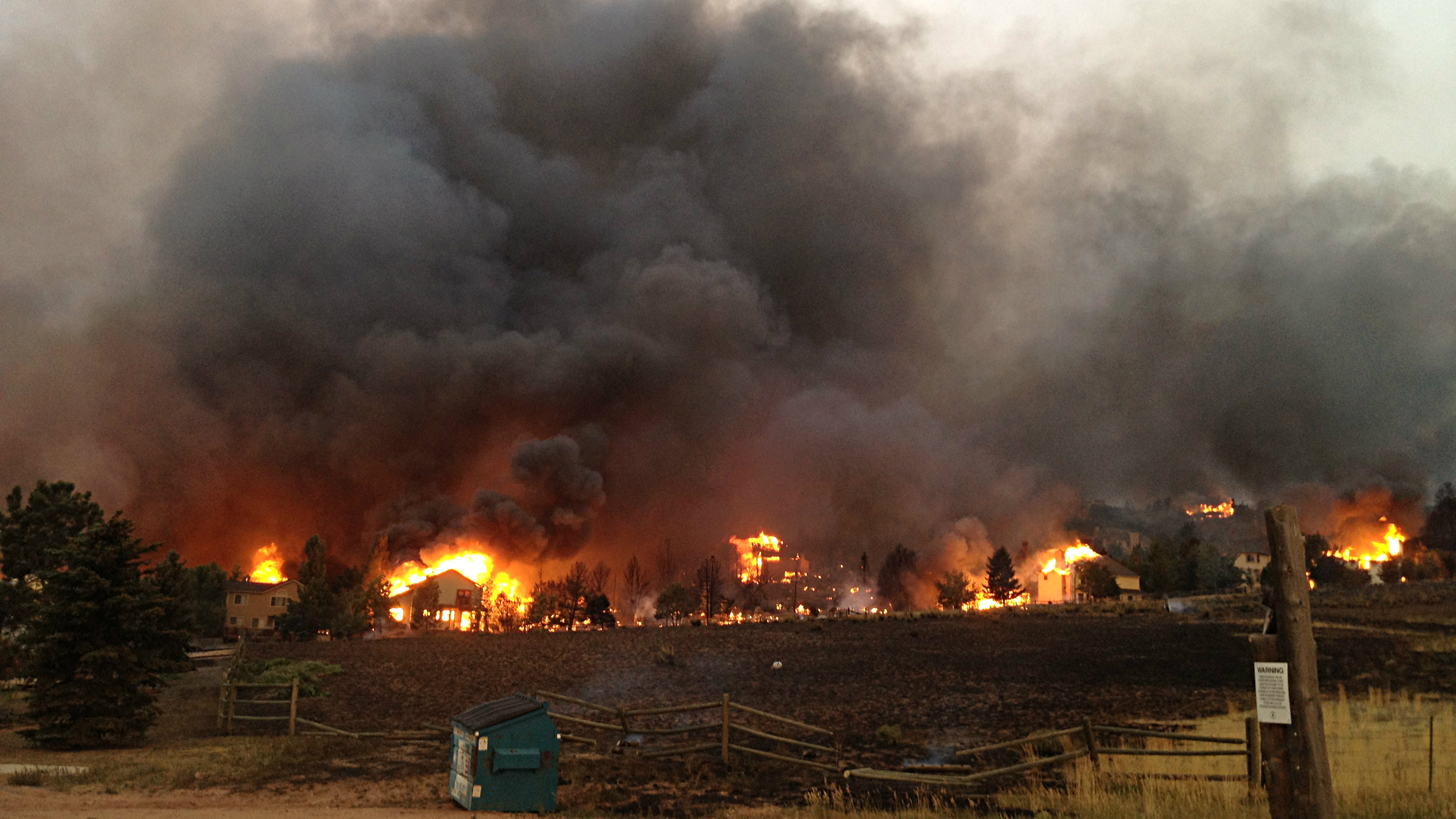 <p>The Waldo Canyon Fire burning on Courtney Lane in Colorado Springs in 2012.</p>