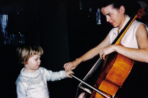 <p>A young Marin Alsop with her mother, Ruth Alsop, a cellist with the New York City Ballet Orchestra.</p>