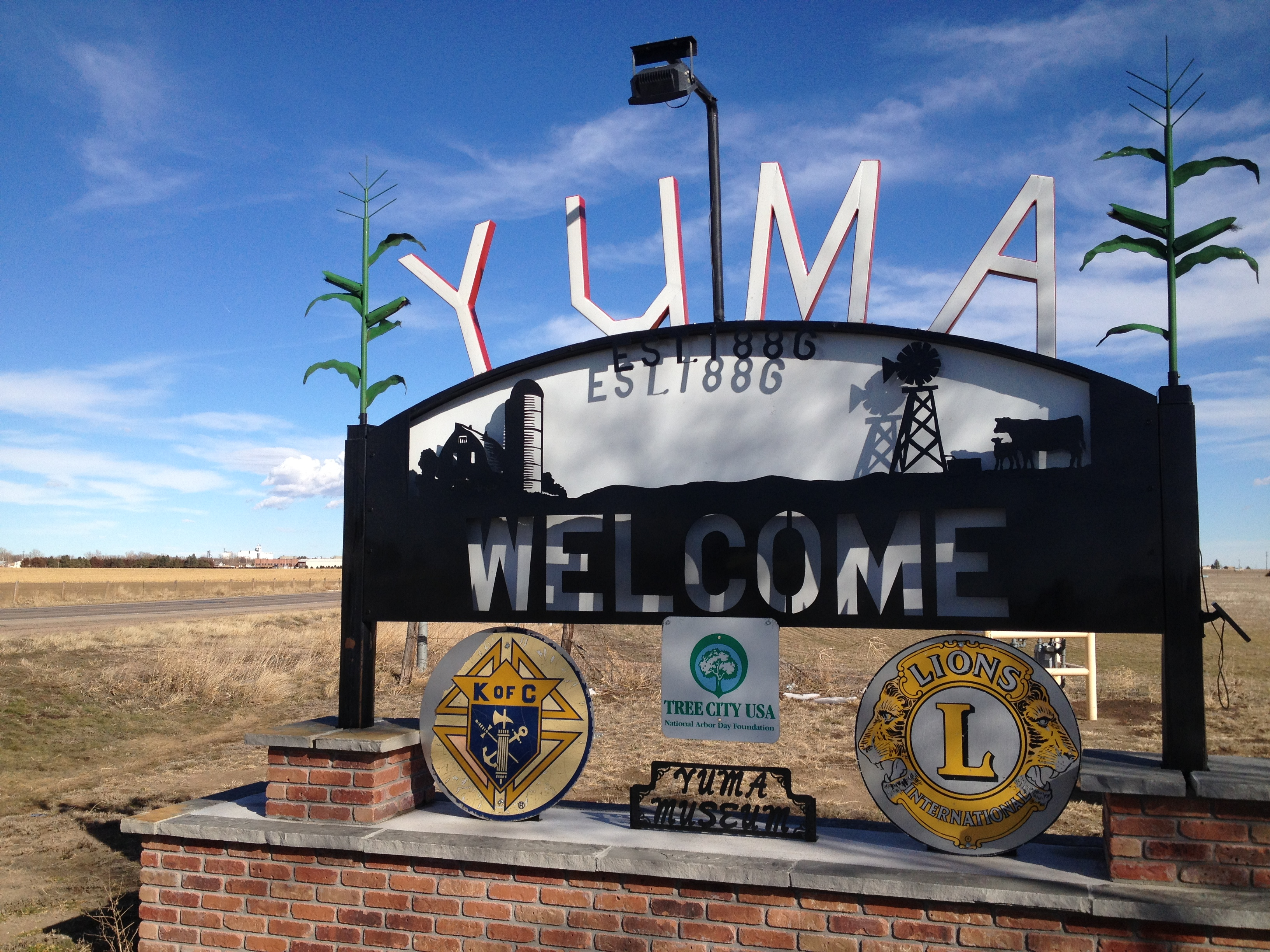 <p>A sign welcomes motorists to Yuma, Colo.</p>