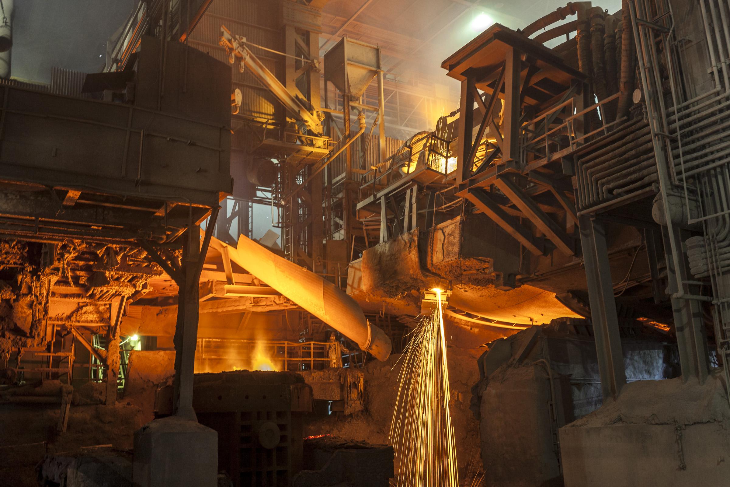 Steelmaking today inside the Evraz Rocky Mountain Steel mill in Pueblo.