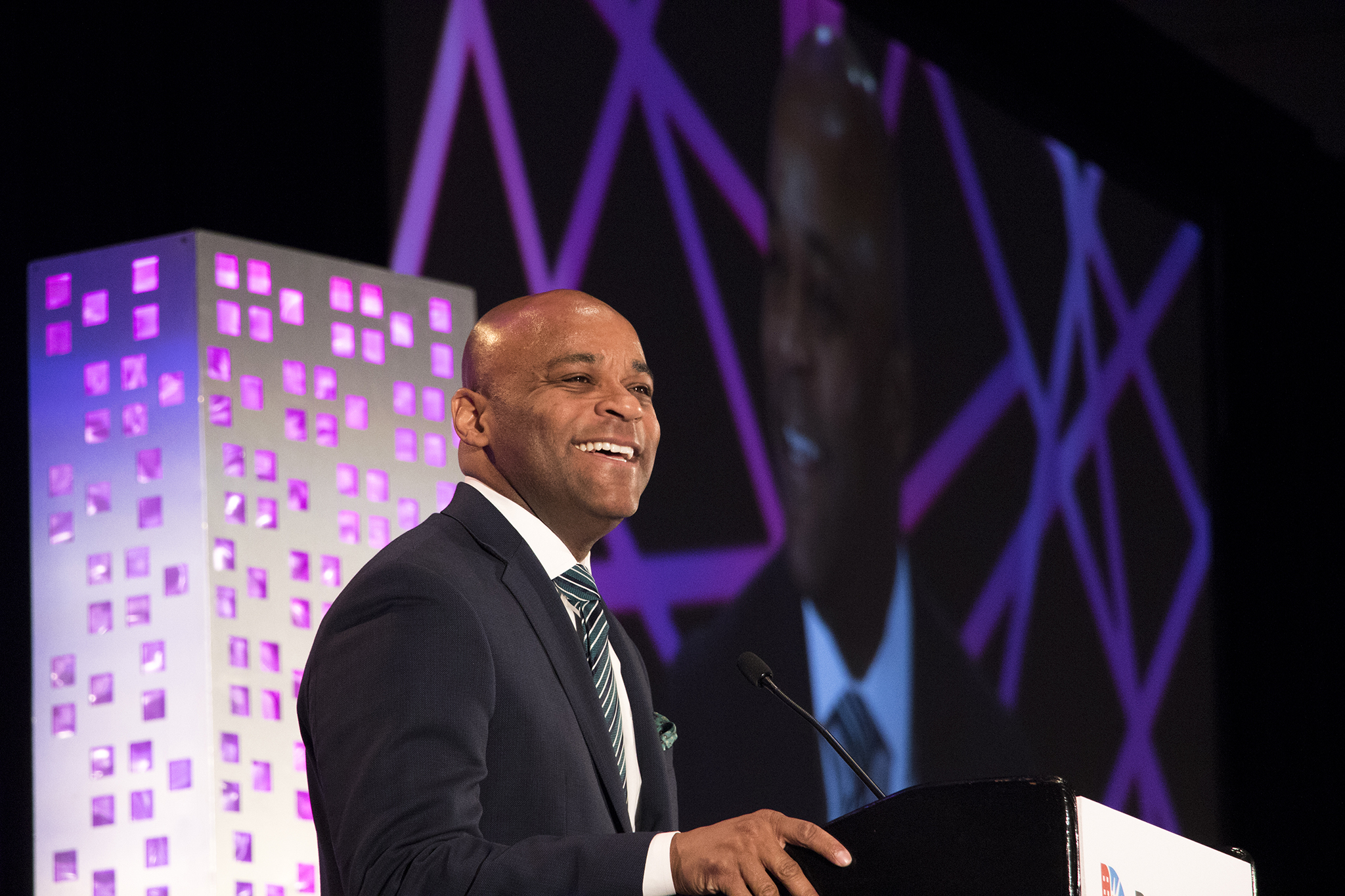 <p>Mayor Michael Hancock speaks during the 2018 Sustainable Denver Summit at the Colorado Convention Center, Nov. 29, 2018.</p>