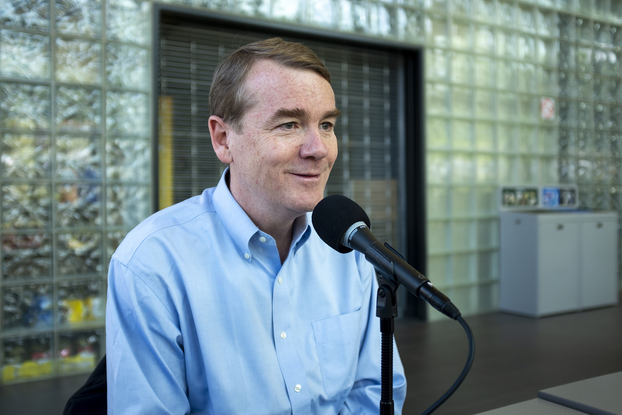 <p><u>U.S. </u>Sen. Michael Bennet speaks to Colorado Matters about his Democratic presidential campaign on the Auraria campus in Denver, May 4, 2019. </p>