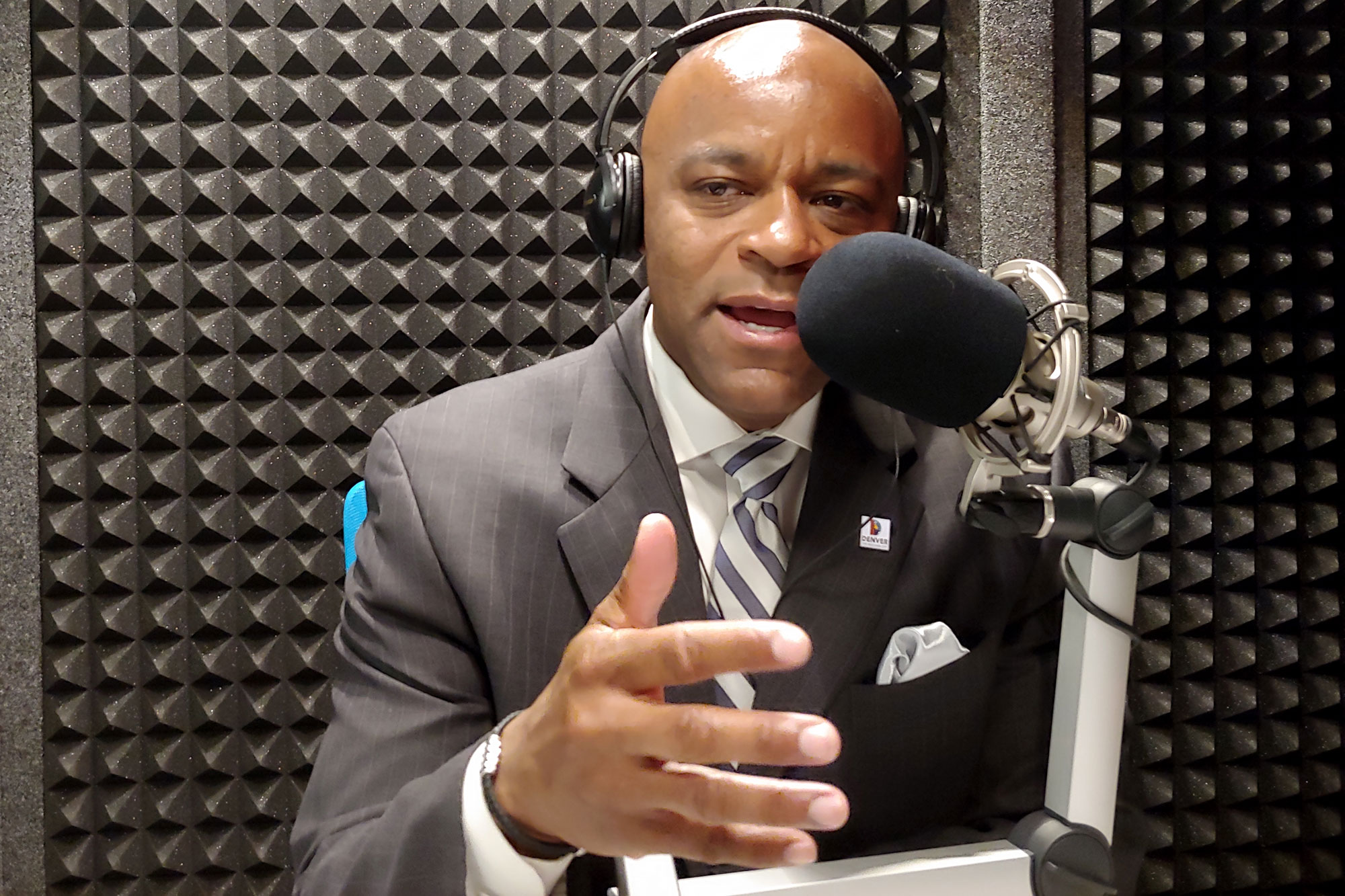 <p>Denver Mayor Michael Hancock gestures during an interview with CPR's Colorado Matters Wednesday June 5 2019, the morning after winning re-election to a third term. He beat challenger Jamie Giellis in a runoff vote.</p>
