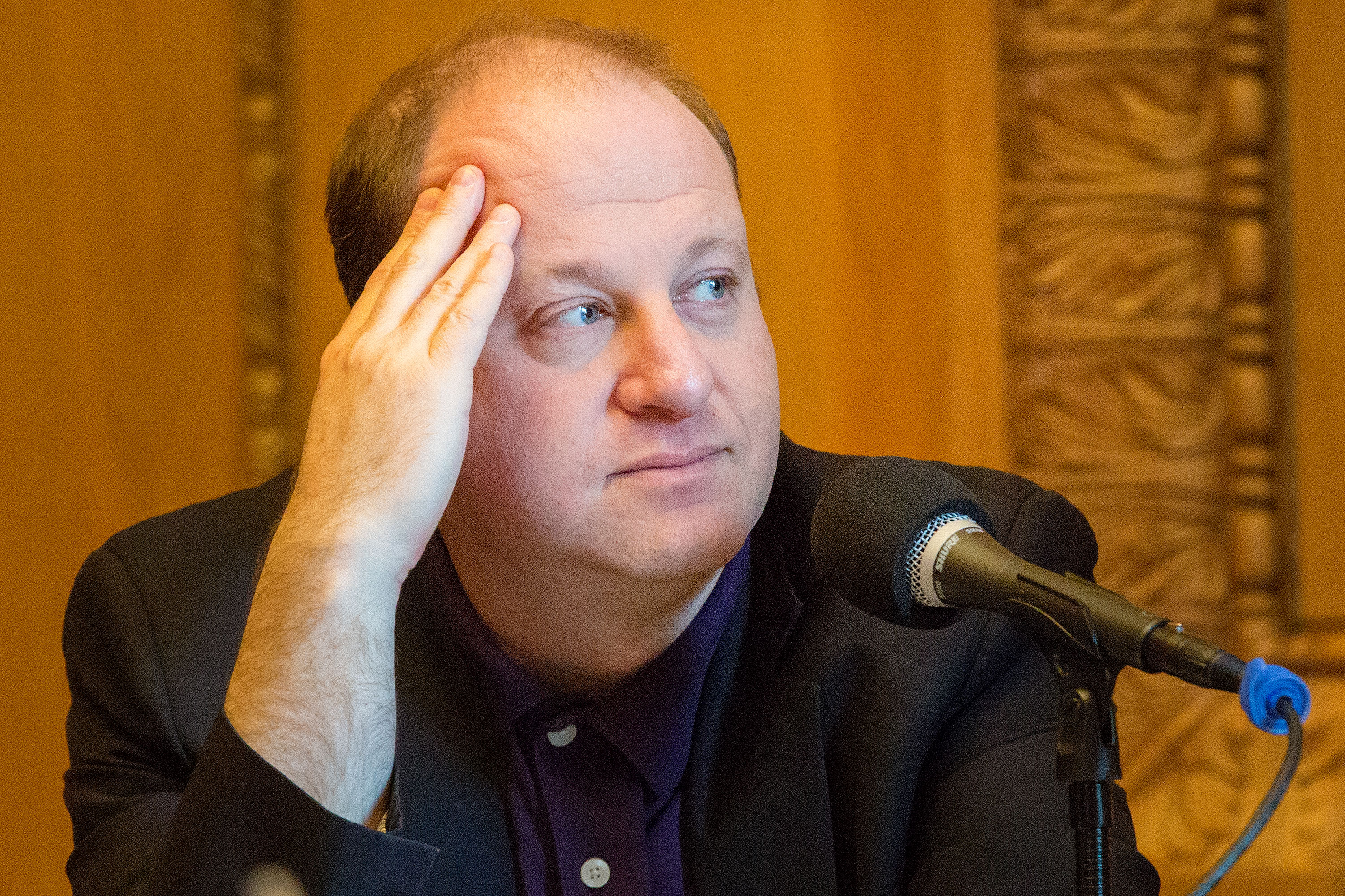 Gov. Jared Polis in his office Monday March 25 2019.