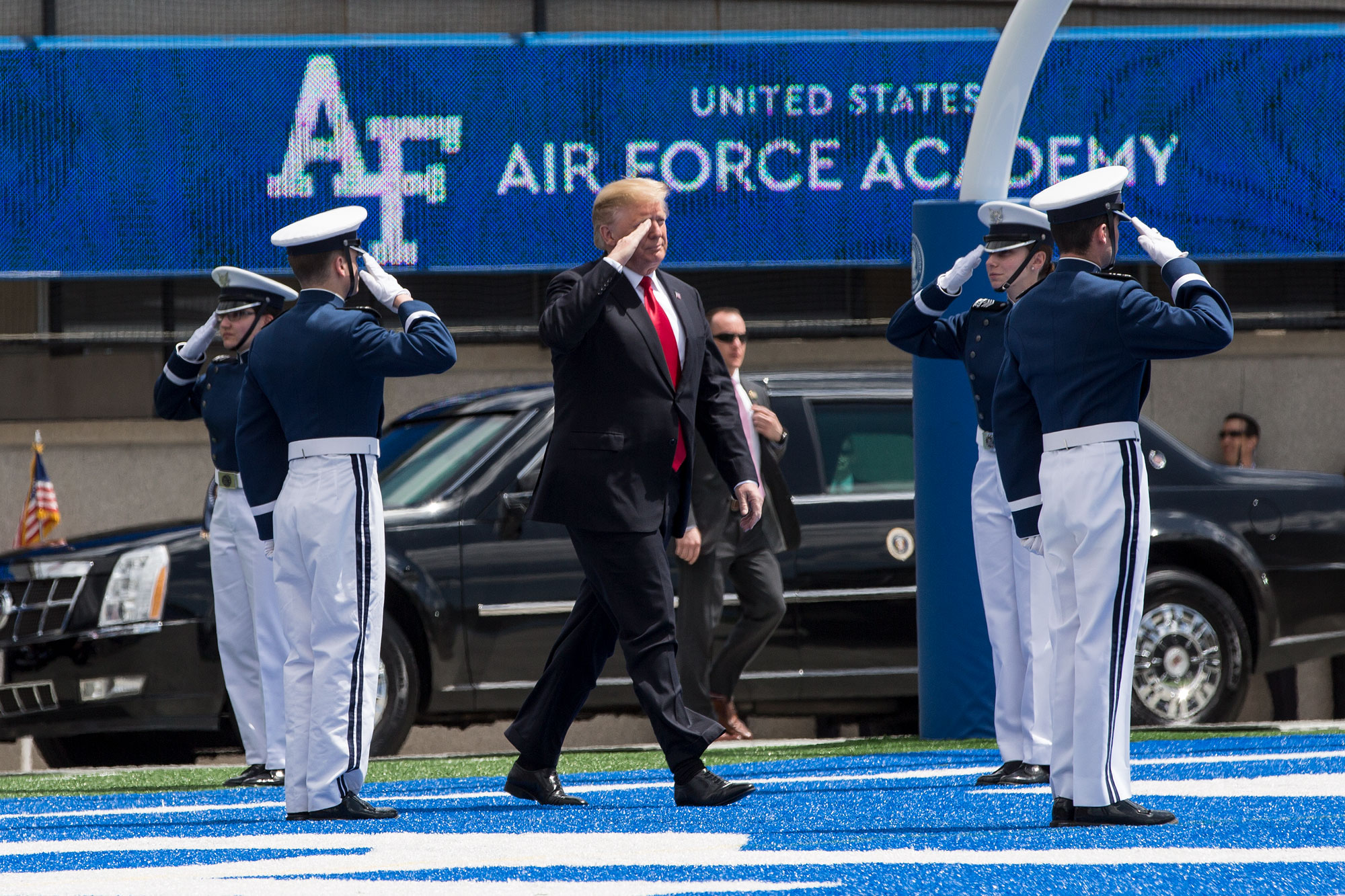 <p>President Donald Trump enters Falcon Stadium for U.S. Air Force Academy graduation on Thu., May 30, 2019.</p>