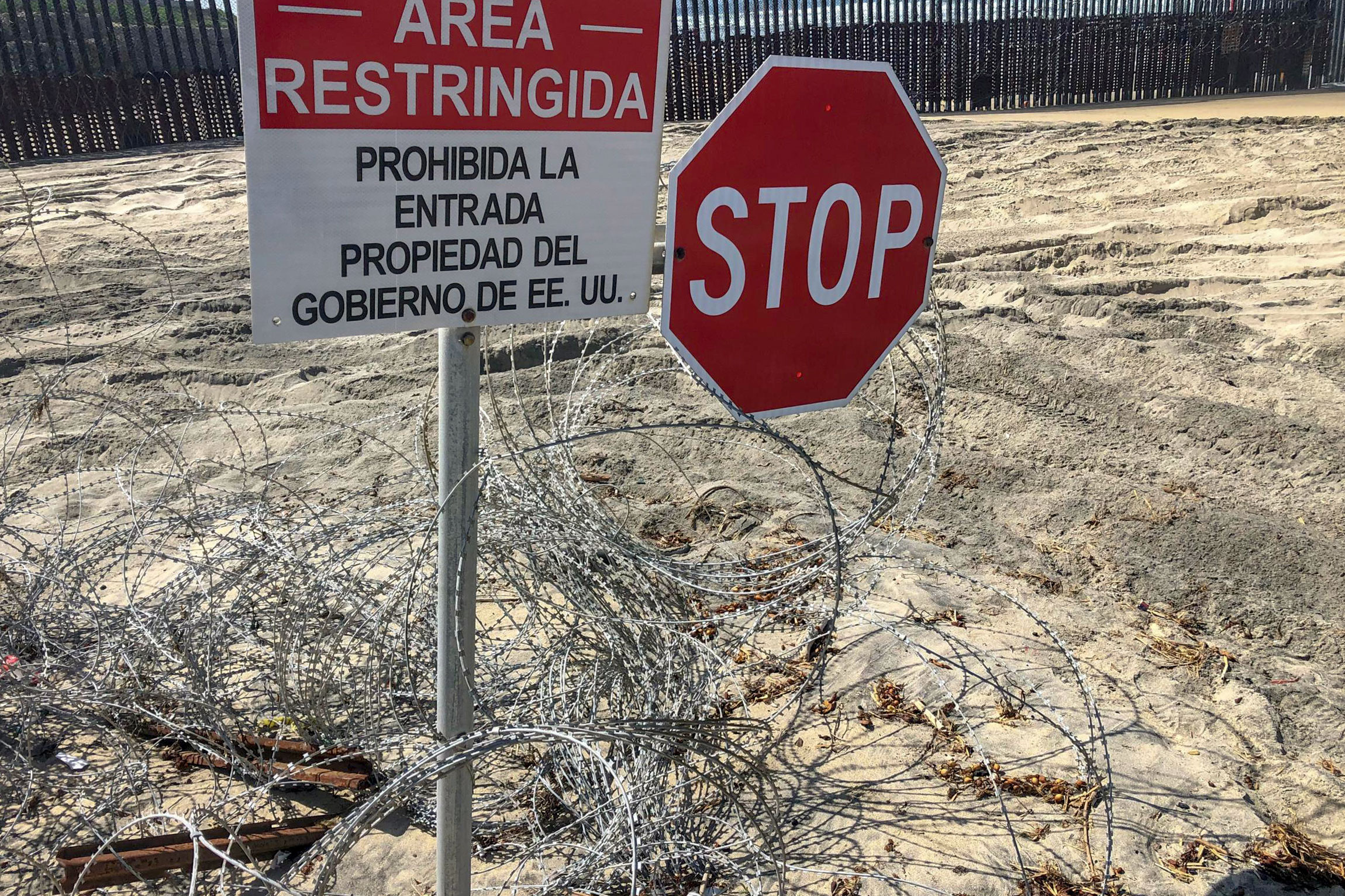 <p>Concertina wire installed by U.S. Marines remains on the beach near the U.S.-Mexico border fence in San Diego, California</p>