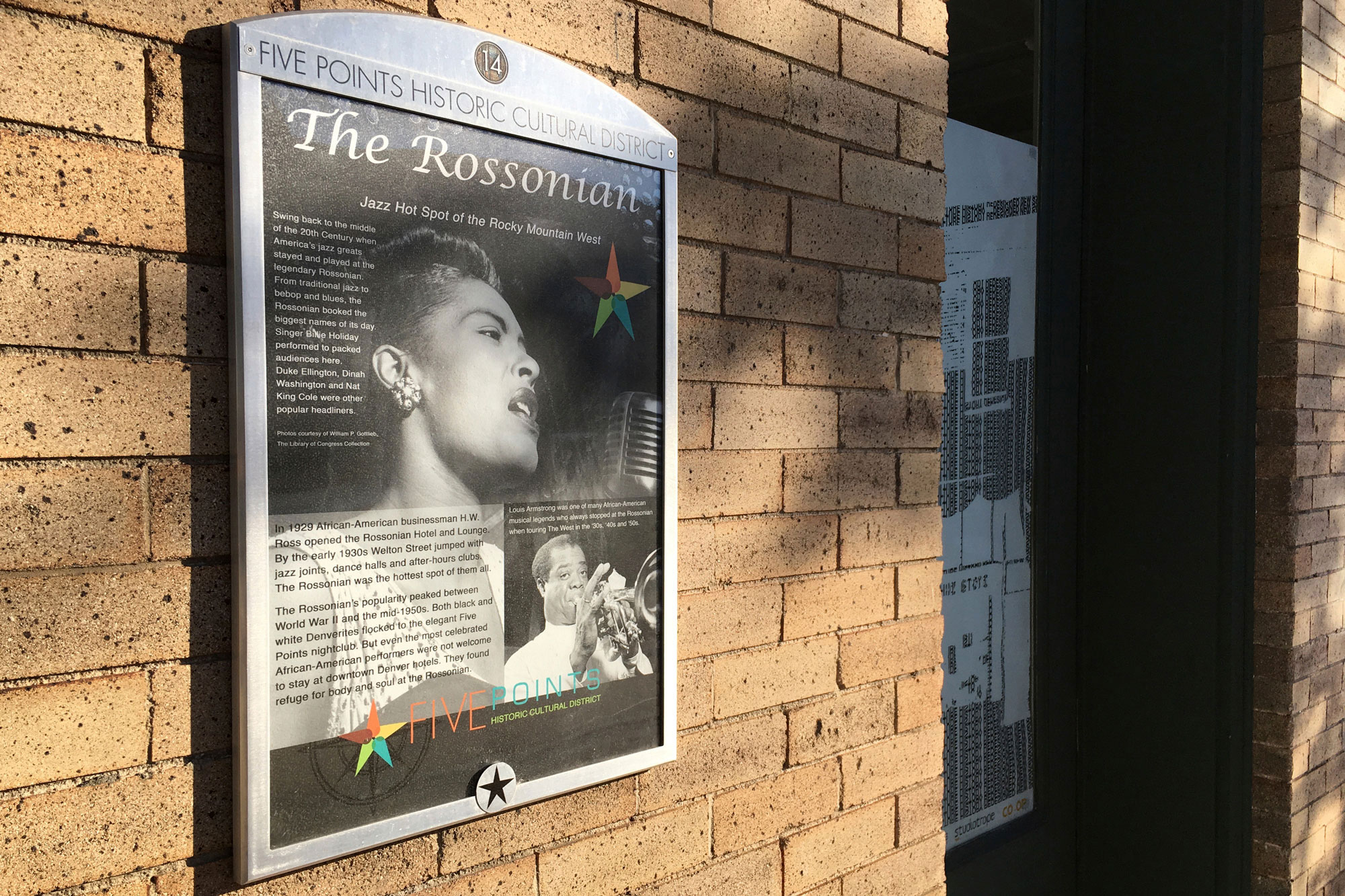 <p>In this Sept. 17, 2016 photo, a monument to the now closed jazz club at the Rossonian Hotel informs visitors of the once celebrated spot in Denver's Five Points neighborhood that played host to Billie Holiday and Louis Armstrong in Denver, Colo.</p>