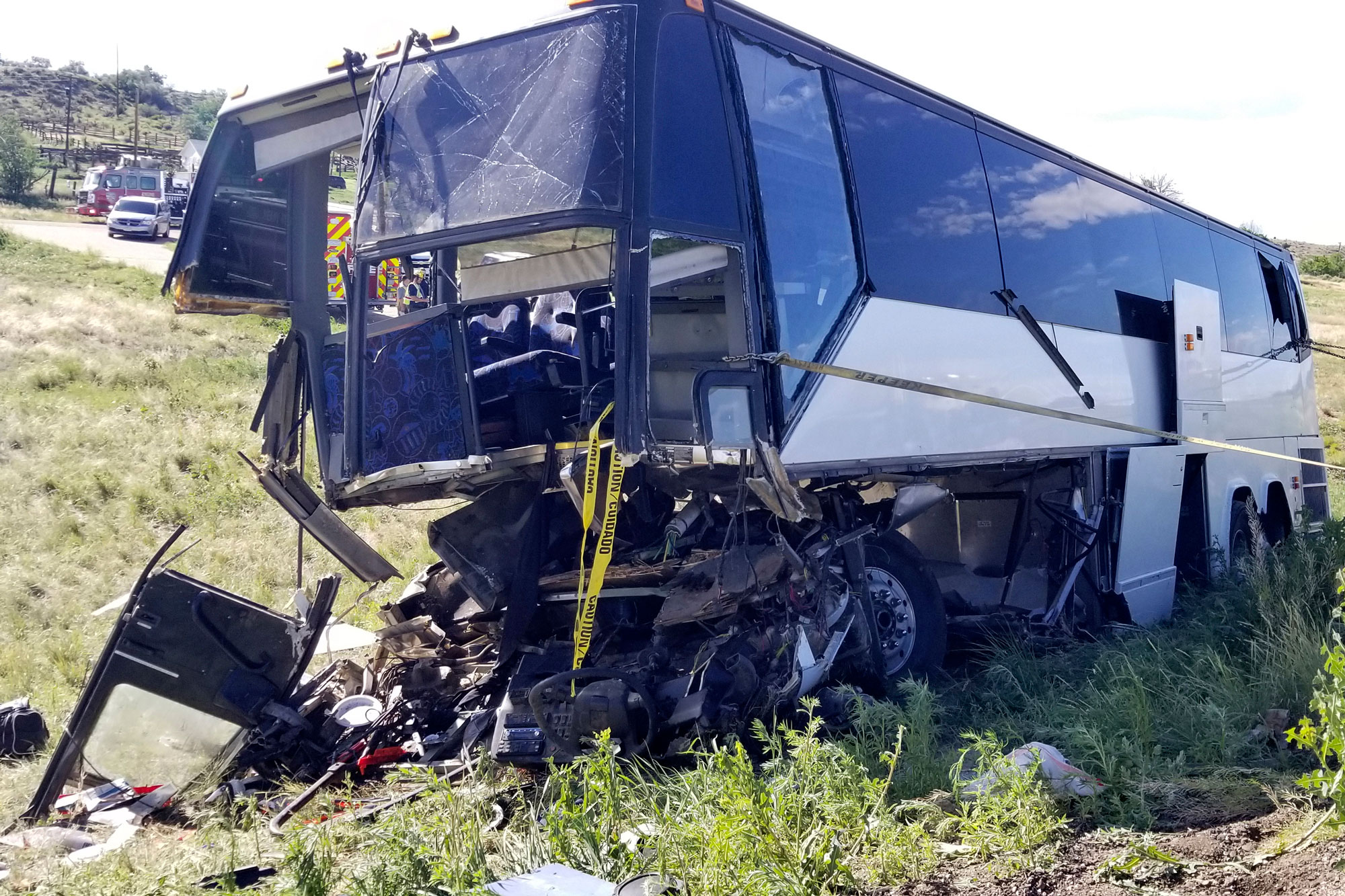 <p>This Sunday, June 23, 2019 photo, provided by the Colorado State Patrol shows a charter bus involved in a crash along Interstate 25 north of Pueblo, Colo., that killed 2 people and injured at least 13.</p>