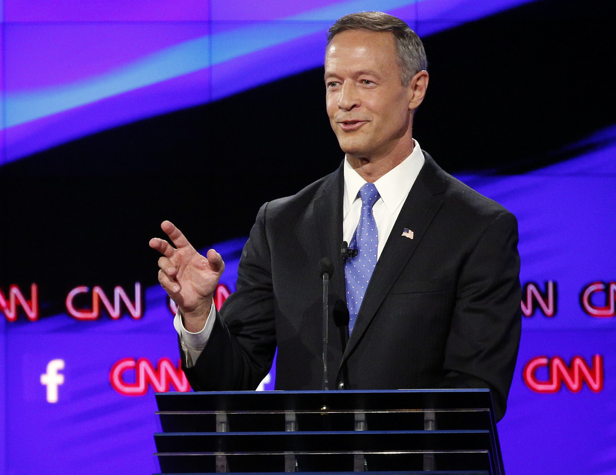 <p>Former Maryland Gov. Martin O'Malley speaks during the CNN Democratic presidential debate Tuesday, Oct. 13, 2015, in Las Vegas.</p>