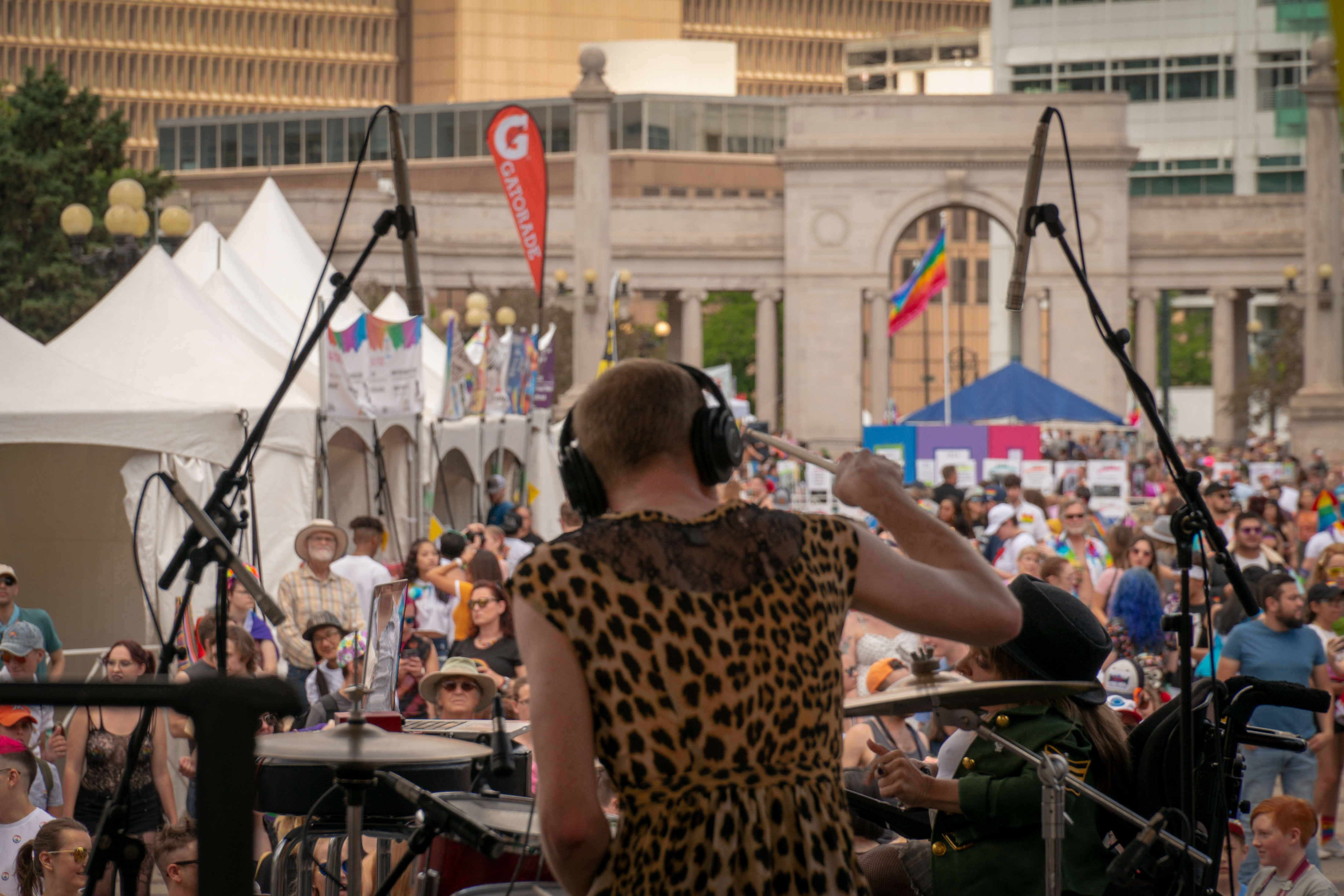 Denver band Wheelchair Sports Camp kicked off the entertainment for PrideFest in Civic Center Park on June 15, 2019.