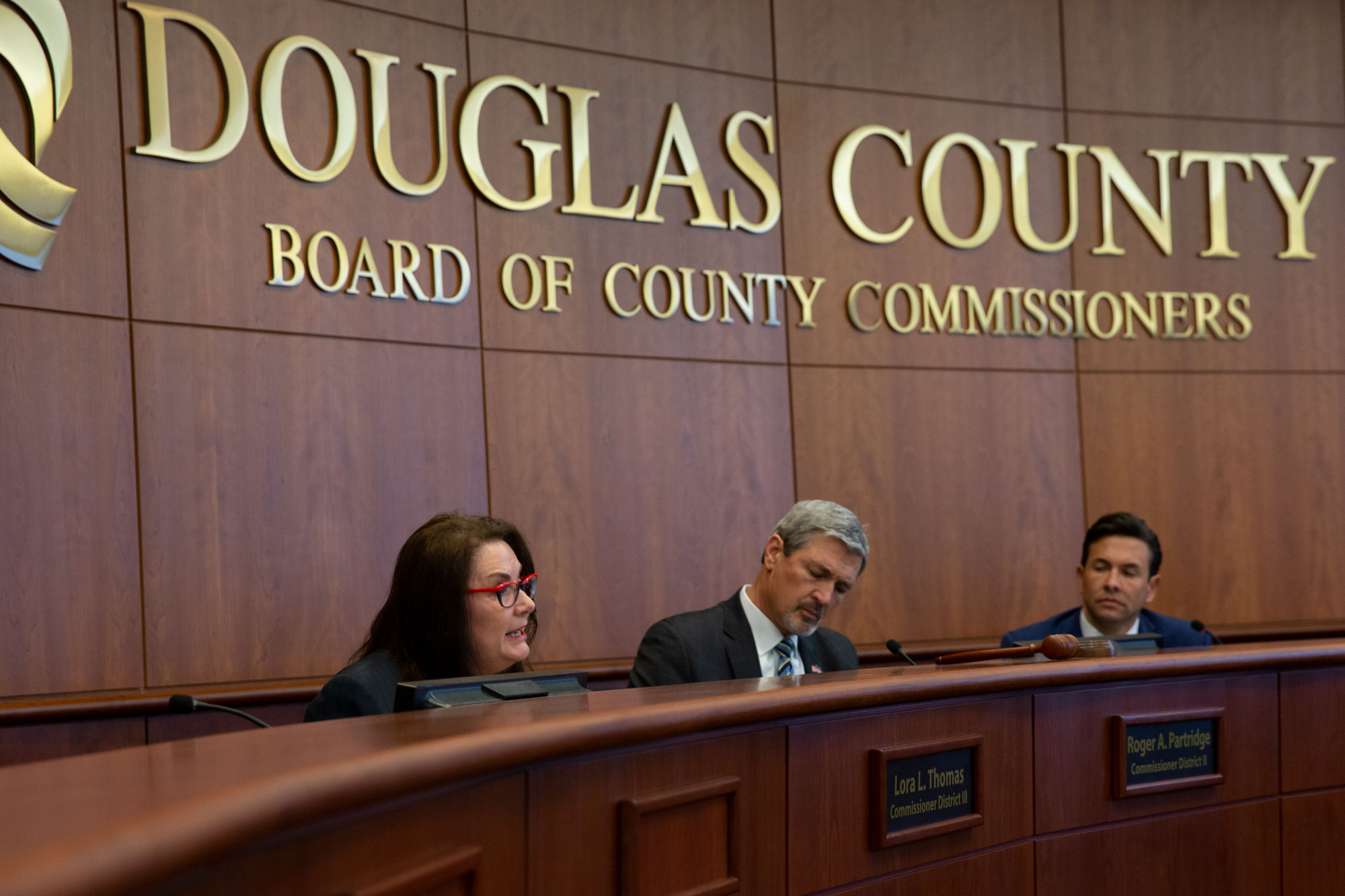 <p>Douglas County CommissionersLora Thomas, Roger Partridge and Abe Laydonat a Monday, May 13, meeting to discuss a budget proposal to fund school safety.</p>