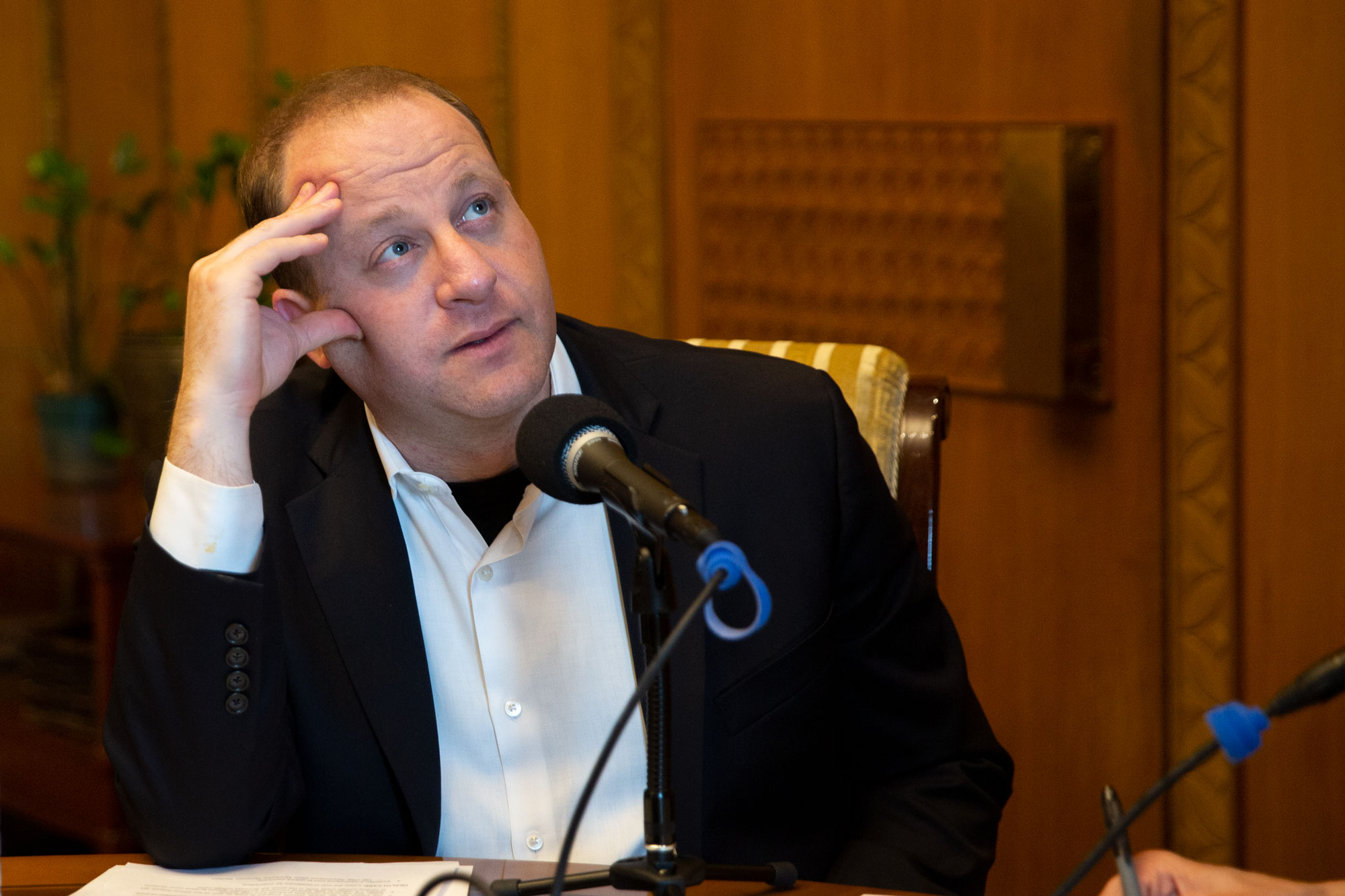 <p>Gov. Jared Polis in his office at the state Capitol on Monday, May 6, 2019.</p>