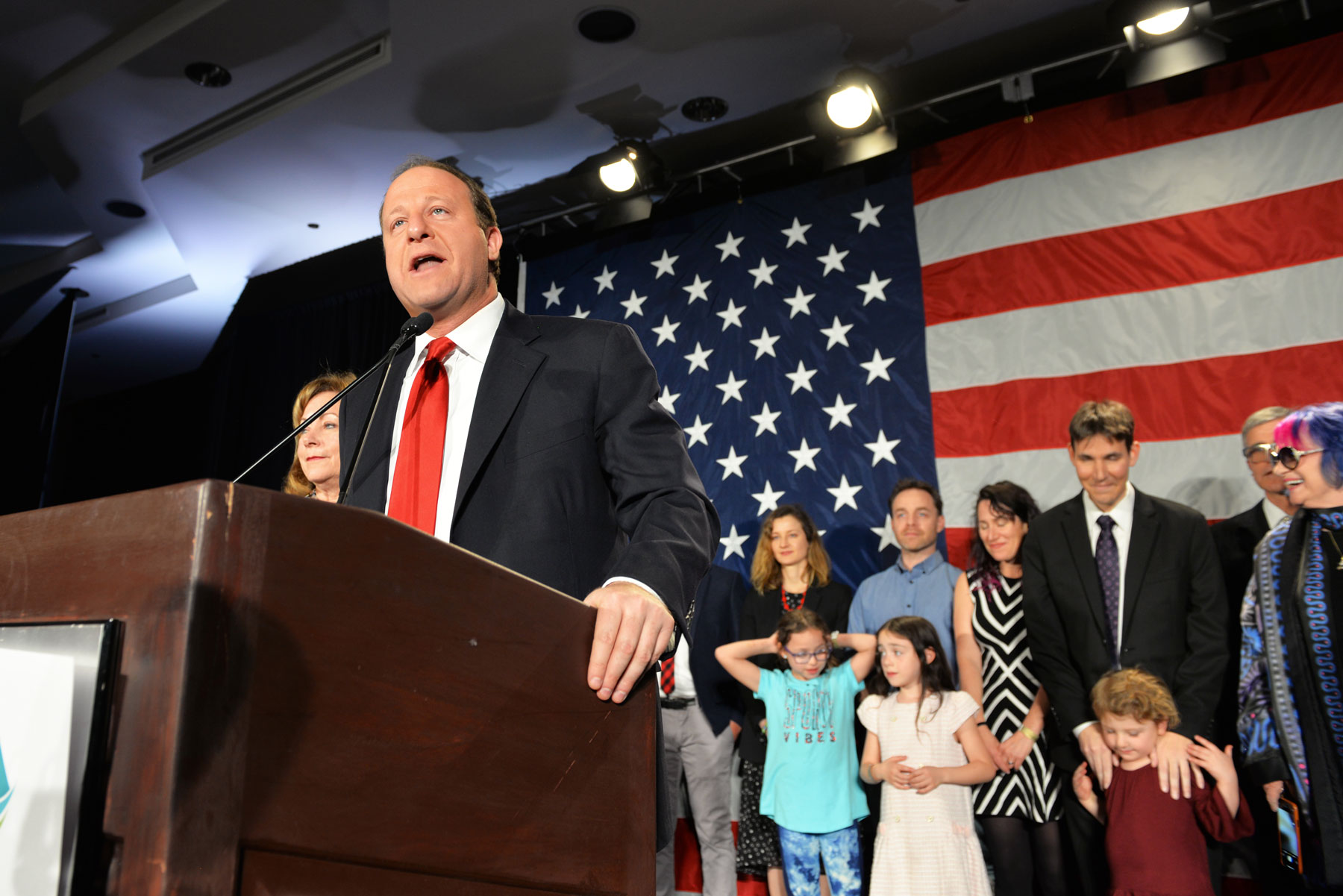 Then Governor-elect Jared Polis speaks at the Democratic election night party, Tuesday, Nov. 11, 2018.