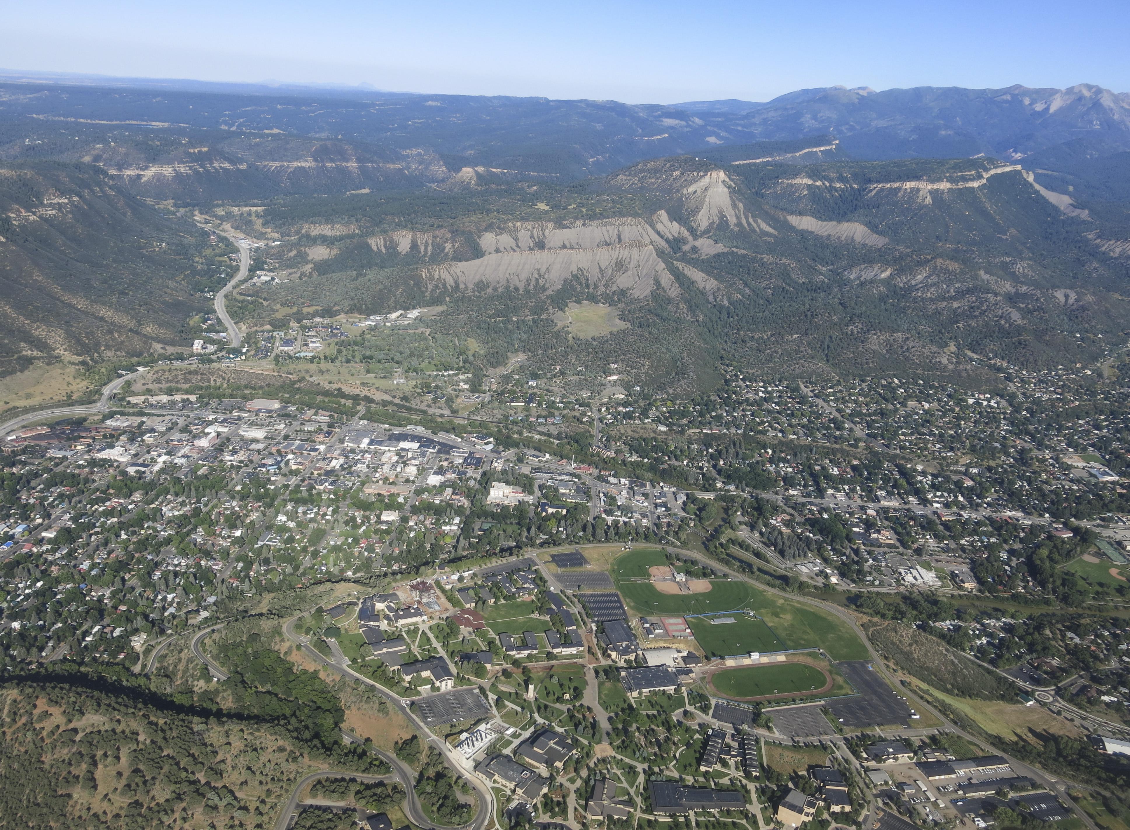 <p>An aerial view of Durango, Colorado.</p>