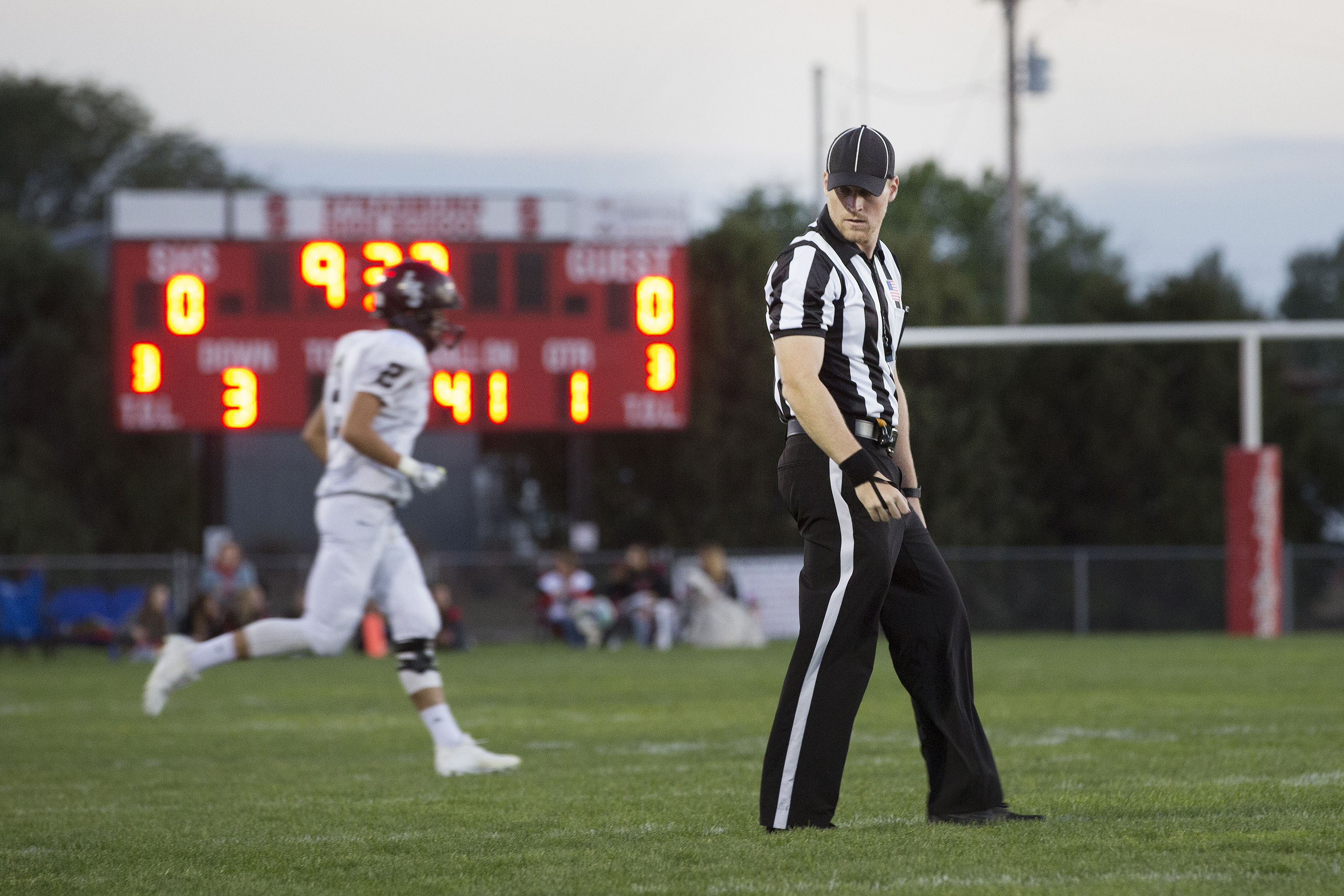 <p>Refereeinga Sept. 21 high school football match in Strasburg. The Indians were hosting the Limon Badgers.</p>
