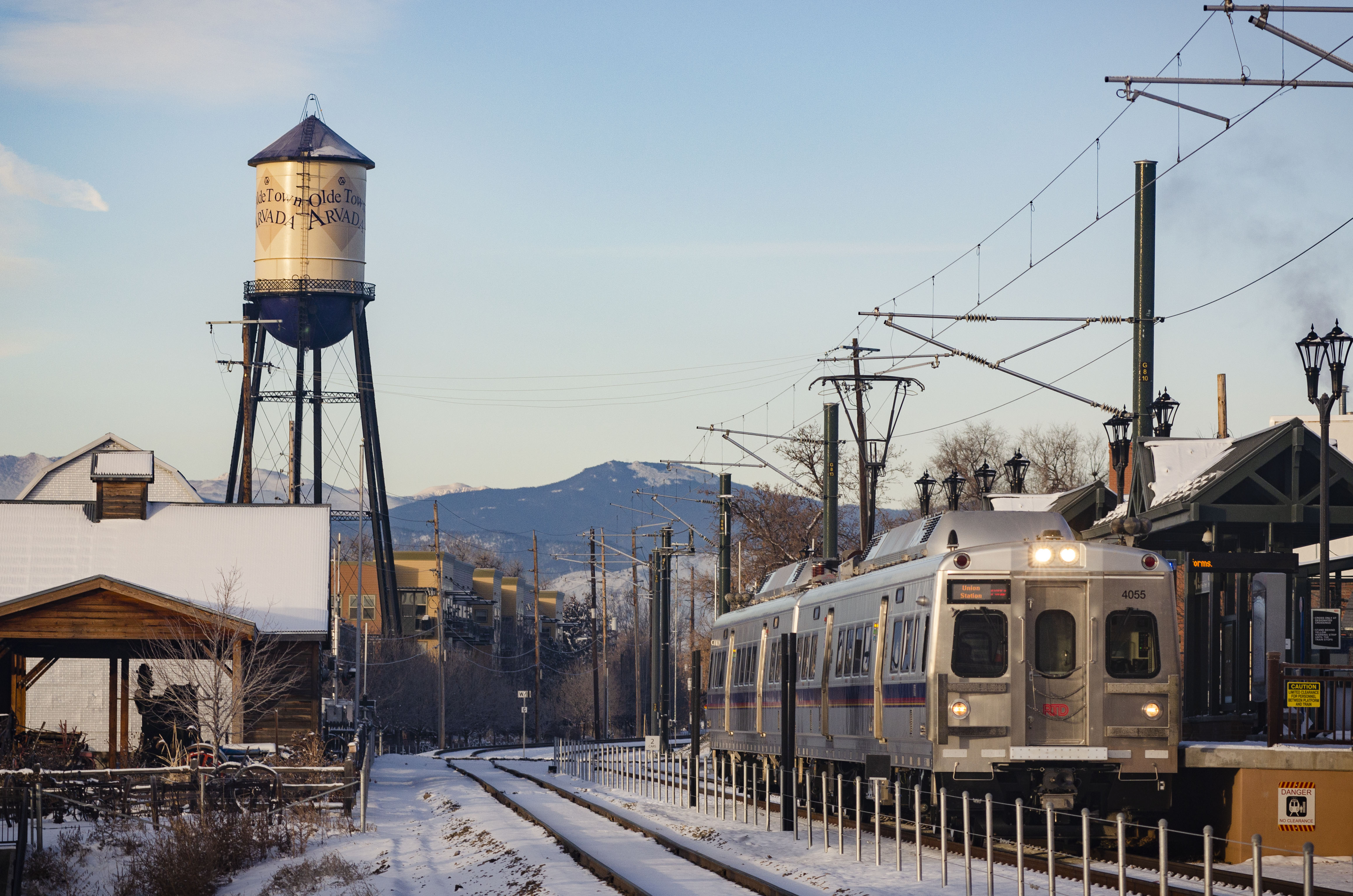 <p>An RTD G Line train idles at the Olde Town Arvada stop during a test run on February 8, 2019.</p>