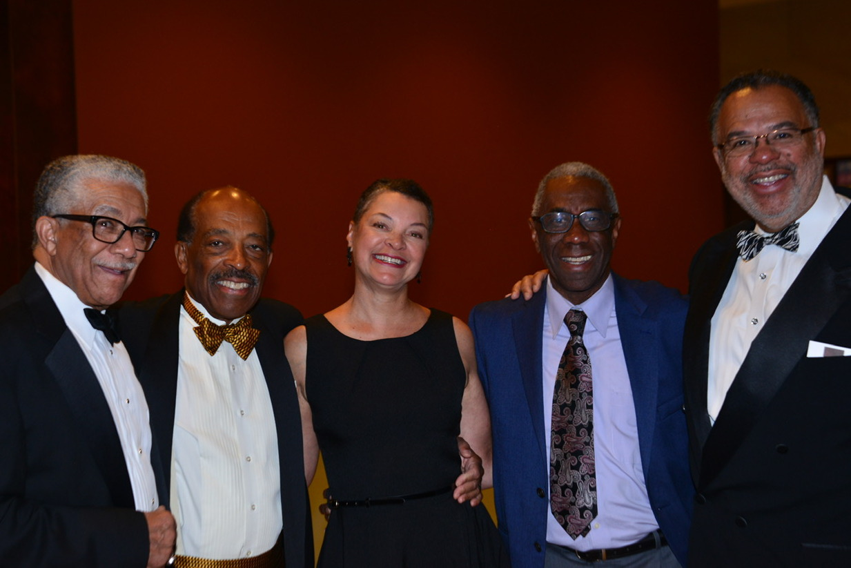 <p>(L-R) Alfred Harrell, Wiley Daniel, Leslie Fields, Daniel Muse and Gary M. Jackson after Daniel received the King Trimble Lifetime Achievement Award from the Sam Cary Bar Association.</p>